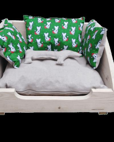 Malá psí postýlka - zelení pejsci
